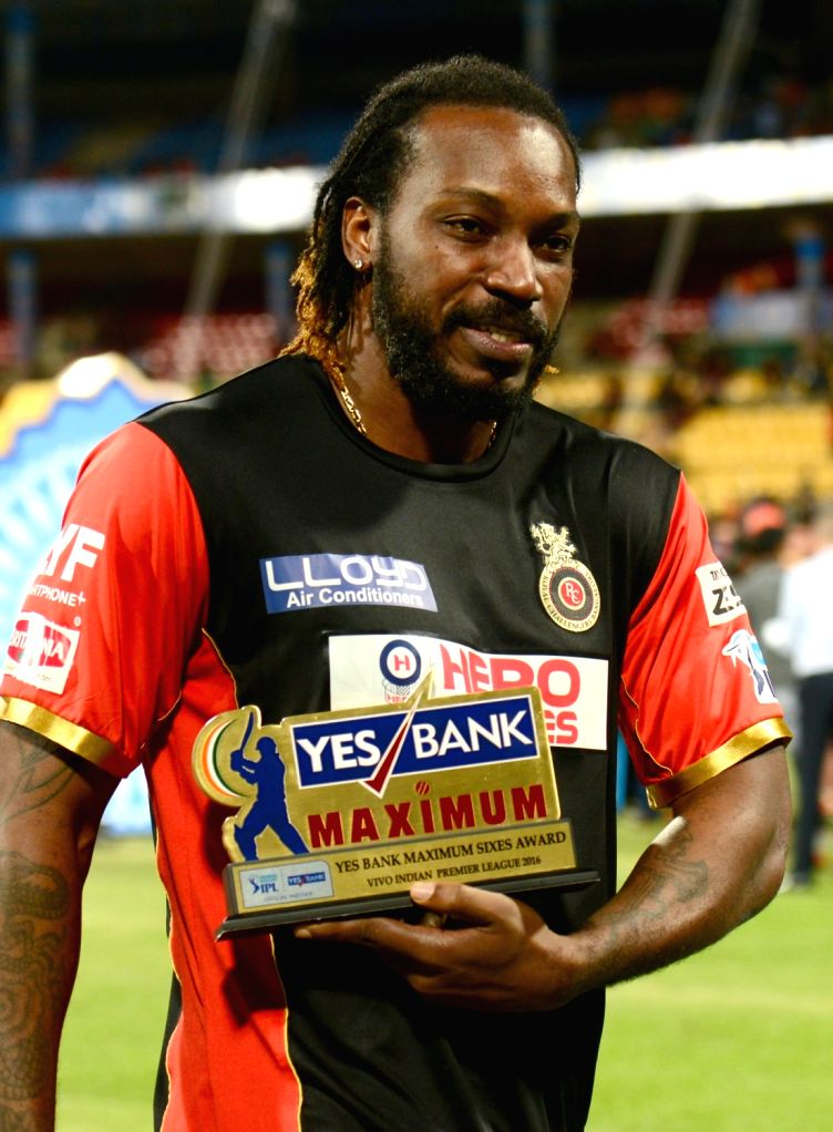 Chris Gayle during the presentation ceremony organised after the final match of IPL 2016 at M Chinnaswamy Stadium in Bengaluru, on May 29, 2016.