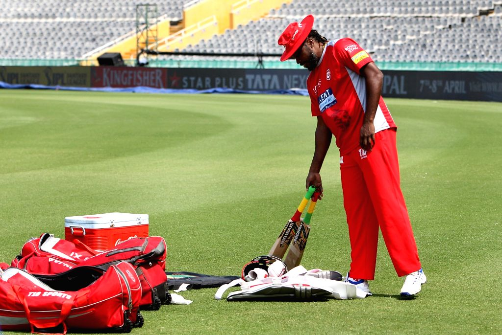 Chris Gayle of Kings XI Punjab, during a practice session in Mohali on April 7, 2018.