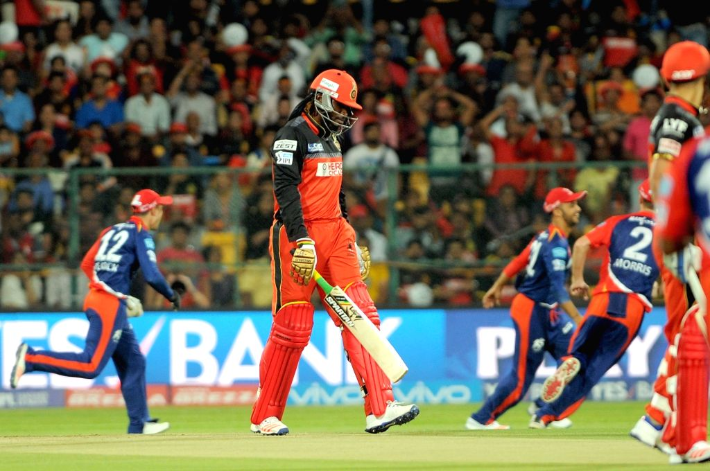 Chris Gayle of Royal Challengers Bangalore after getting dismissed during an IPL match between Royal Challengers Bangalore and Delhi Daredevils at M Chinnaswamy Stadium in Bengaluru, on ...