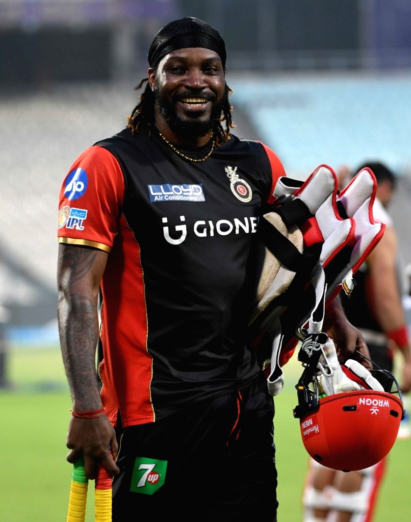Chris Gayle of Royal Challengers Bangalore during a practice session at Eden Gardens in Kolkata on April 22, 2017.