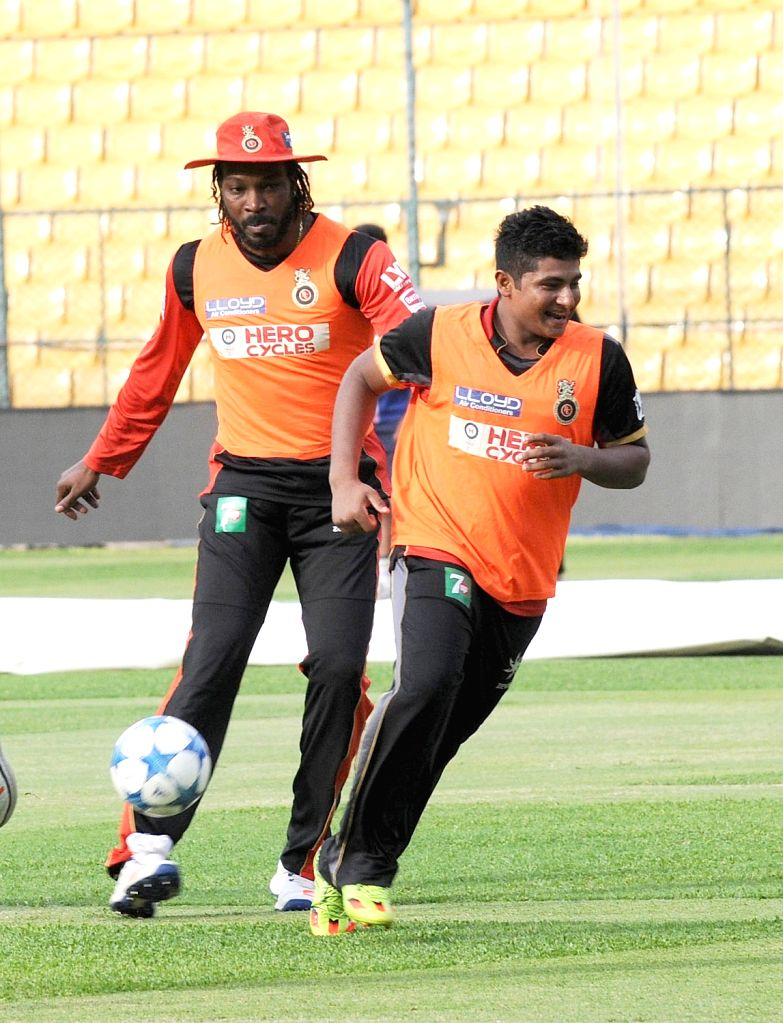 Chris Gayle of Royal Challengers Bangalore in action during a practice session at M Chinnaswamy Stadium in Bengaluru, on May 27, 2016.