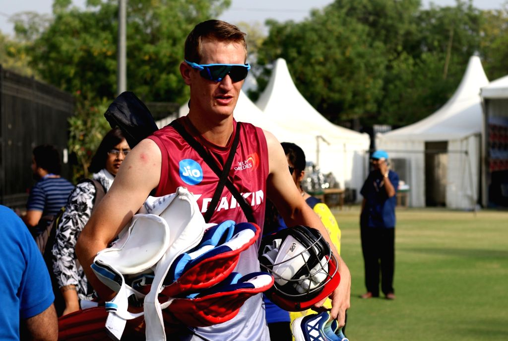 Chris Morris of Delhi Daredevils during a practice session ahead of an IPL 2017 match against Kings XI Punjab at Feroz Shah Kotla stadium in New Delhi on April 14, 2017. - Feroz Shah Kotla