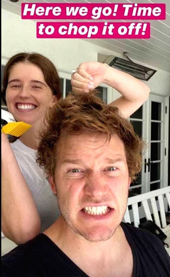 Chris Pratt gets 'quarantine haircut' from wife Katherine.