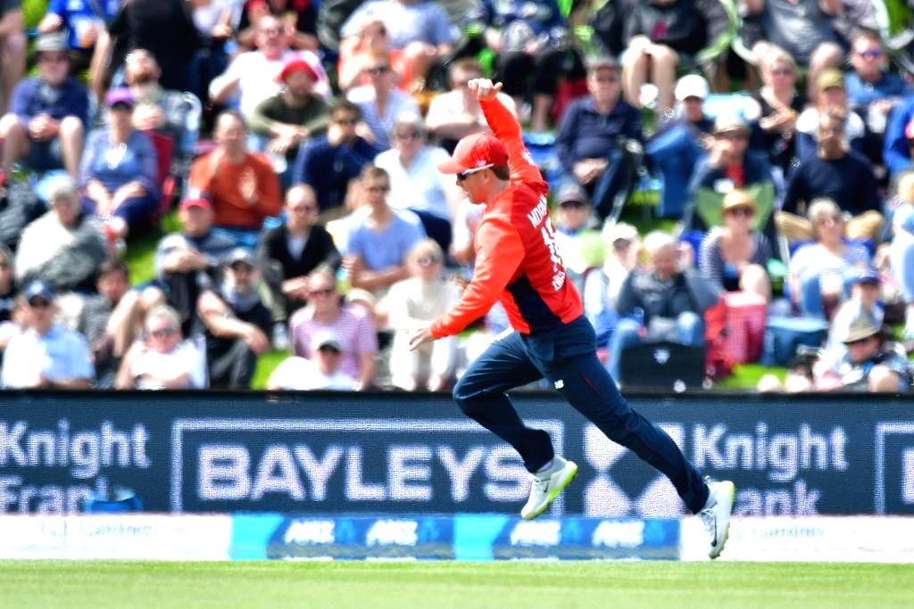 Christchurch: England's Eoin Morgan in action during the 1st T20I match between England and New Zealand at Hagley Oval in Christchurch, New Zealand on Nov 1, 2019. (Photo: Twitter/@ICC)