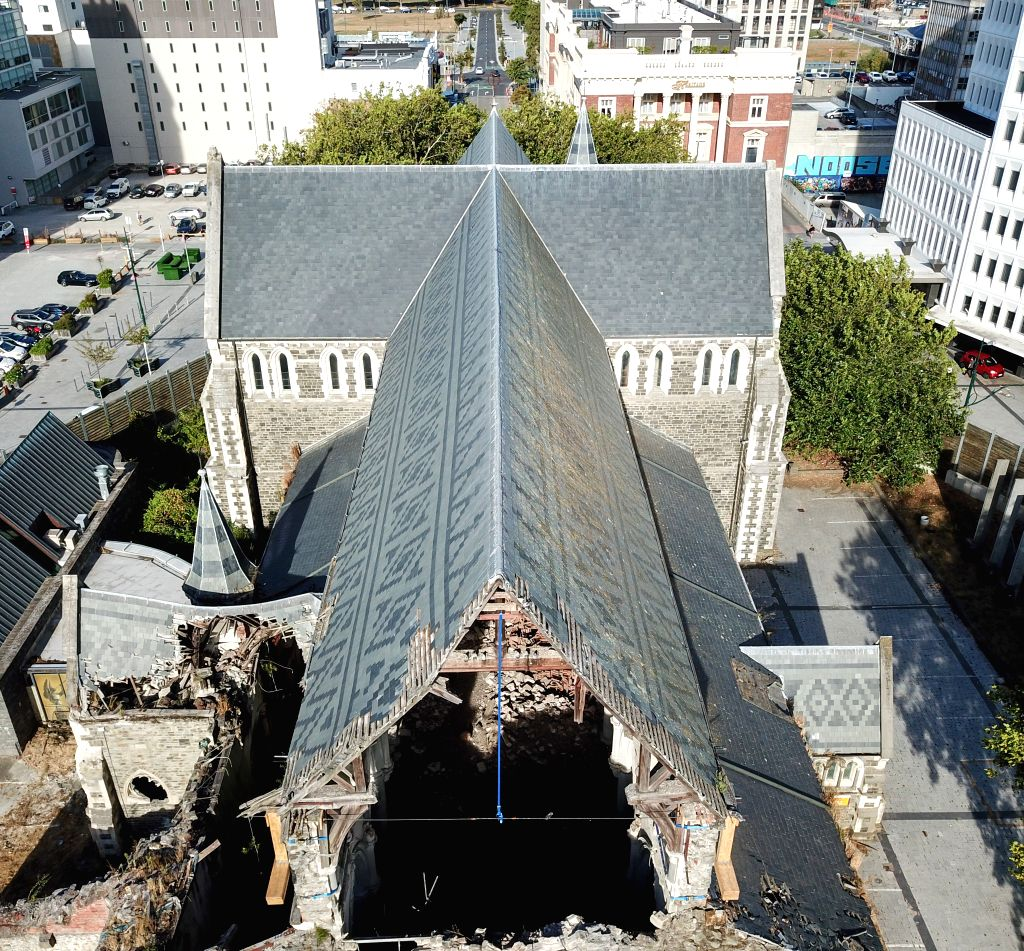 CHRISTCHURCH, Feb. 22, 2019 - Aerial photo taken on Feb. 21, 2019 shows the remains of a church damaged by earthquake in Christchurch, New Zealand. A ceremony was held on Friday in New Zealand's ... - John Key