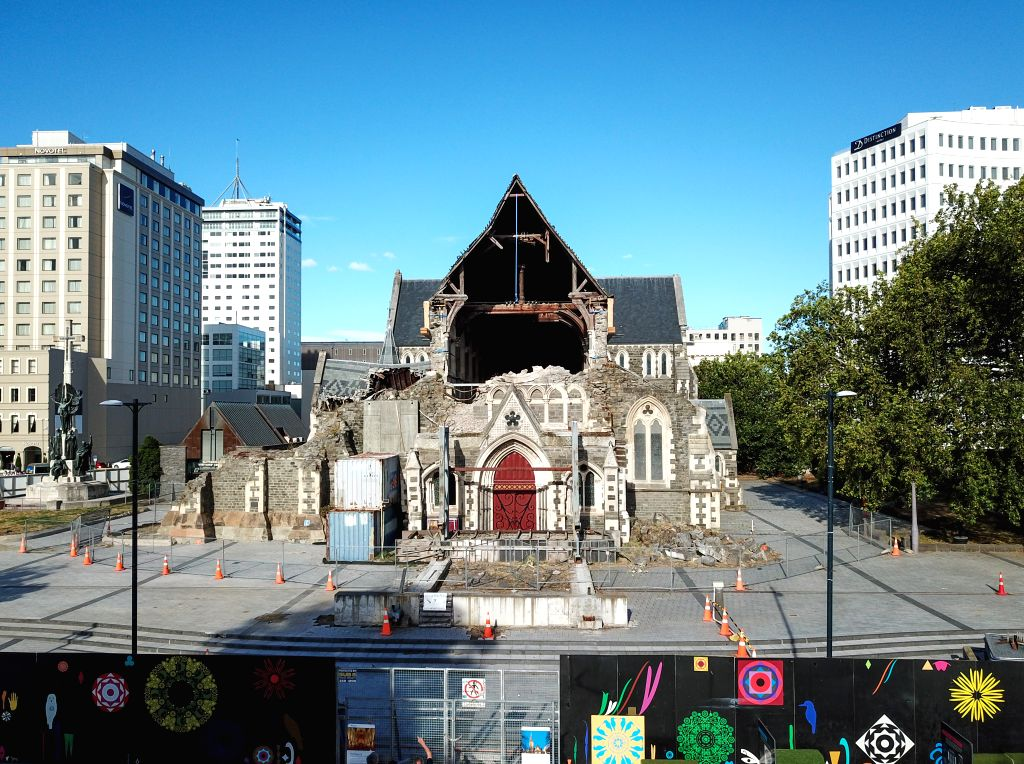 CHRISTCHURCH, Feb. 22, 2019 - Photo taken on Feb. 21, 2019 shows the remains of a church damaged by earthquake in Christchurch, New Zealand. A ceremony was held on Friday in New Zealand's second ... - John Key