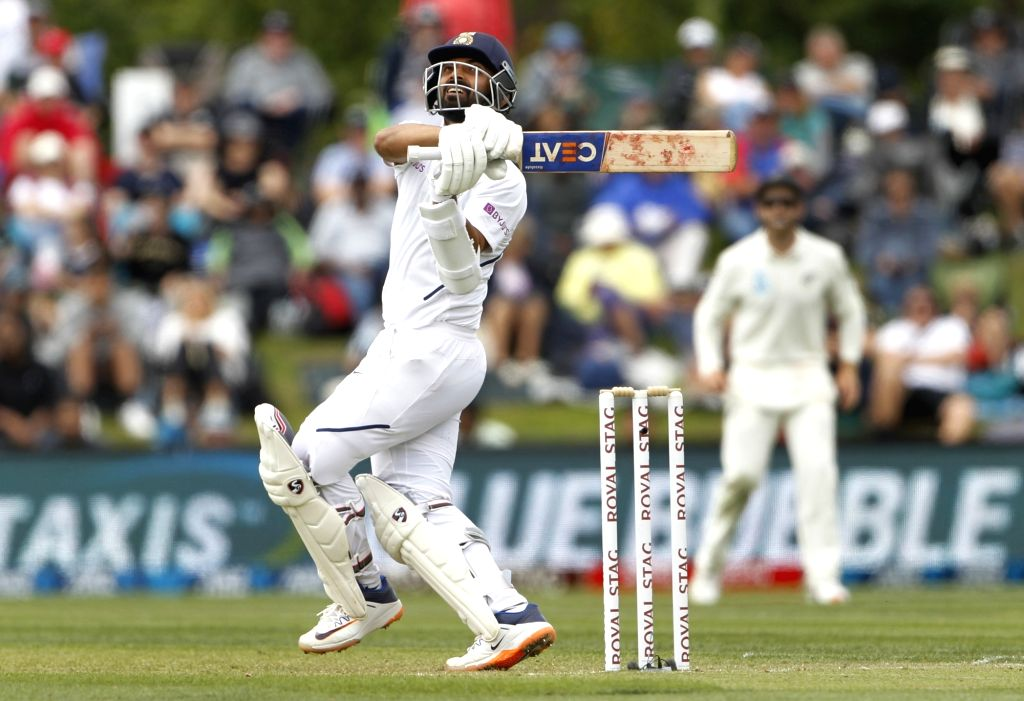 Christchurch: India's Ajinkya Rahane in action on Day 1 of the 2nd Test match between India and New Zealand at Hagley Oval in Christchurch, New Zealand on Feb 29, 2020. (Photo: Surjeet Yadav/IANS) - Surjeet Yadav