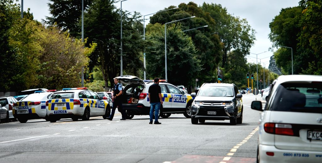 CHRISTCHURCH, March 15, 2019 (Xinhua) -- Police are seen at a road block in Christchurch, New Zealand, March 15, 2019. At least 27 people were killed in multiple shootings in the two mosques of New Zealand's Christchurch on Friday afternoon, and poli