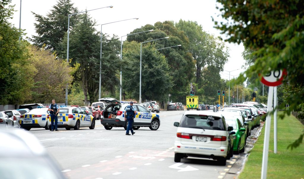 CHRISTCHURCH, March 15, 2019 (Xinhua) -- Police are seen on a road in Christchurch, New Zealand, March 15, 2019. At least 40 people were killed in mass shootings in two mosques of New Zealand's Christchurch, New Zealand Prime Minister Jacinda Ardern  - Jacinda Ardern
