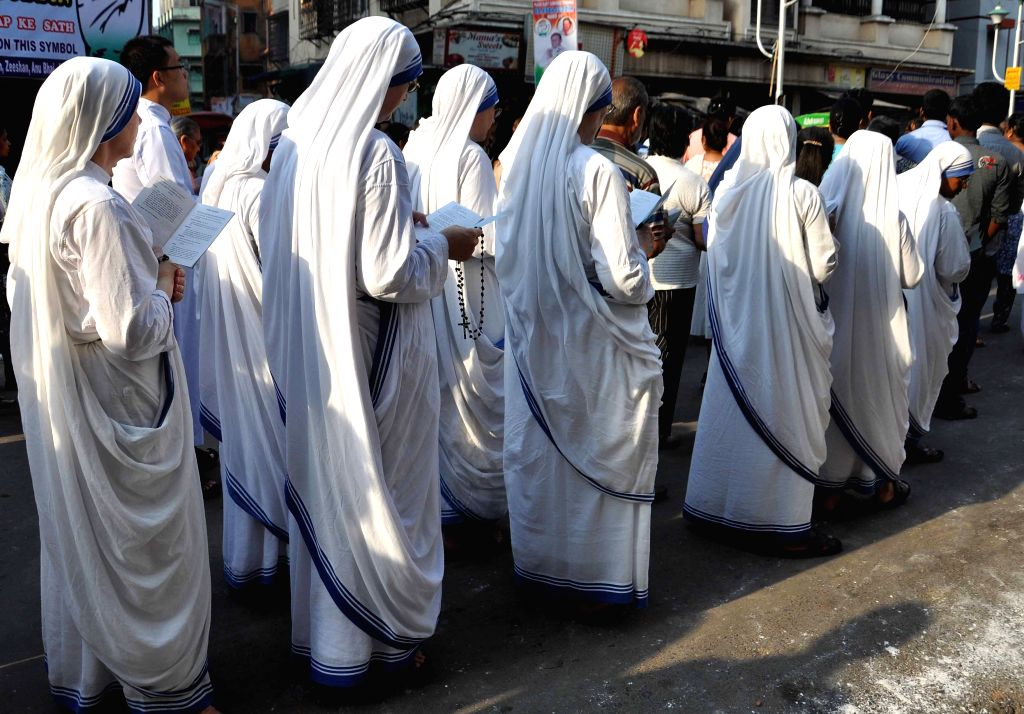 Christian nuns participate in a procession organised on Good Friday in Kolkata, on April 3, 2015.