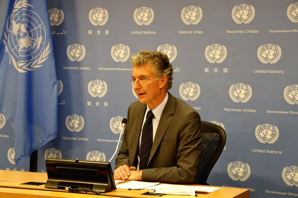 Christoph Heusgen, Germany's permanent representative to the United Nations, speaks at a press encounter at the UN headquarters in New York, on July 30, ...