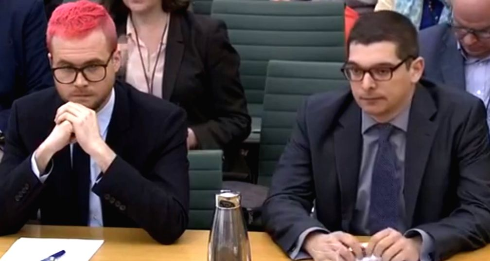 Christopher Wylie, a former employee of Cambridge Analytica, left and Paul-Olivier Dehaye, a data protection expert, appear before the Digital, Culture, Media and Sport Committee of British Parliament on Tuesday, March 27, 2017. (Photo: Parliament vi