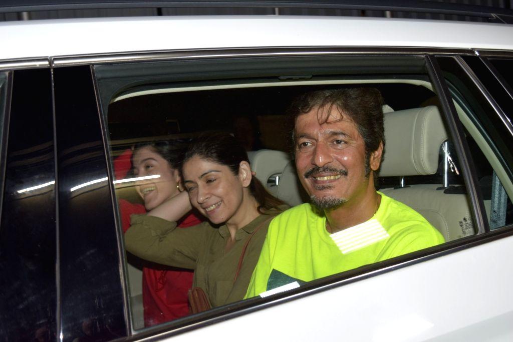 Chunky Pandey, his wife Bhavna Pandey and actor Sanjay Kapoor's daughter Shanaya Kapoor seen at Juhu in Mumbai on Nov 12, 2019. - Sanjay Kapoor, Bhavna Pandey and Shanaya Kapoor