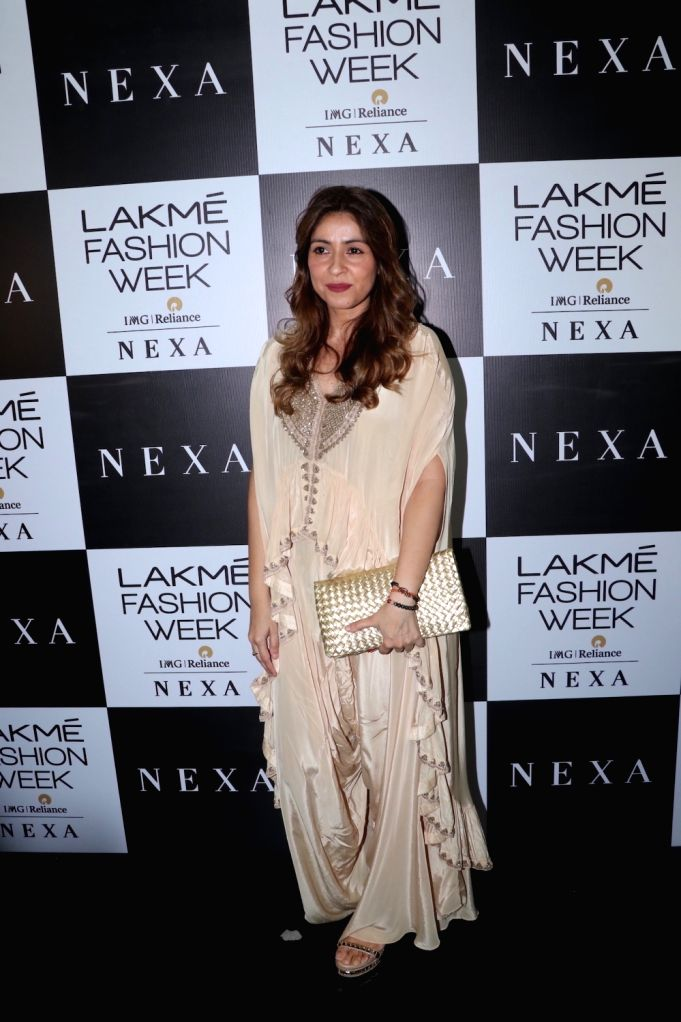 Chunky Pandey's wife Bhavna Pandey at the Lakme Fashion Week Winter/Festive 2019 in Mumbai on Aug 24, 2019. - Bhavna Pandey