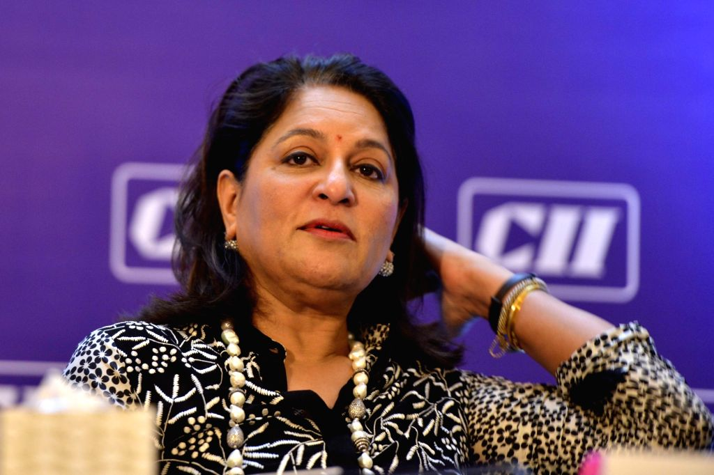 CII President Shobana Kamineni addresses a press conference in New Delhi on May 4, 2017.