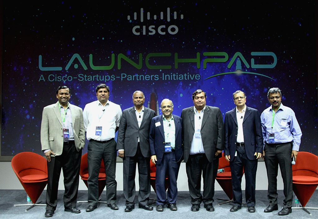 Cisco LaunchPad announcement with industry leaders like - (From left to right) Shekhar Kirani - Partner, Accel Partners; Parag Naik - CEO, Saankhya Labs; L. Ravichandran - President & COO, Tech ...