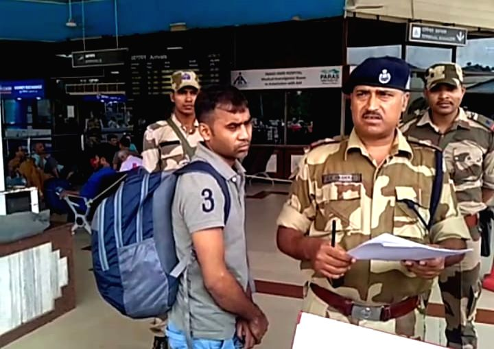 CISF personnel detained a Delhi-bound passenger who was carrying a country made pistol inside a tiffin box, at Jay Prakash Narayan International Airport in Patna on July 25, 2019.