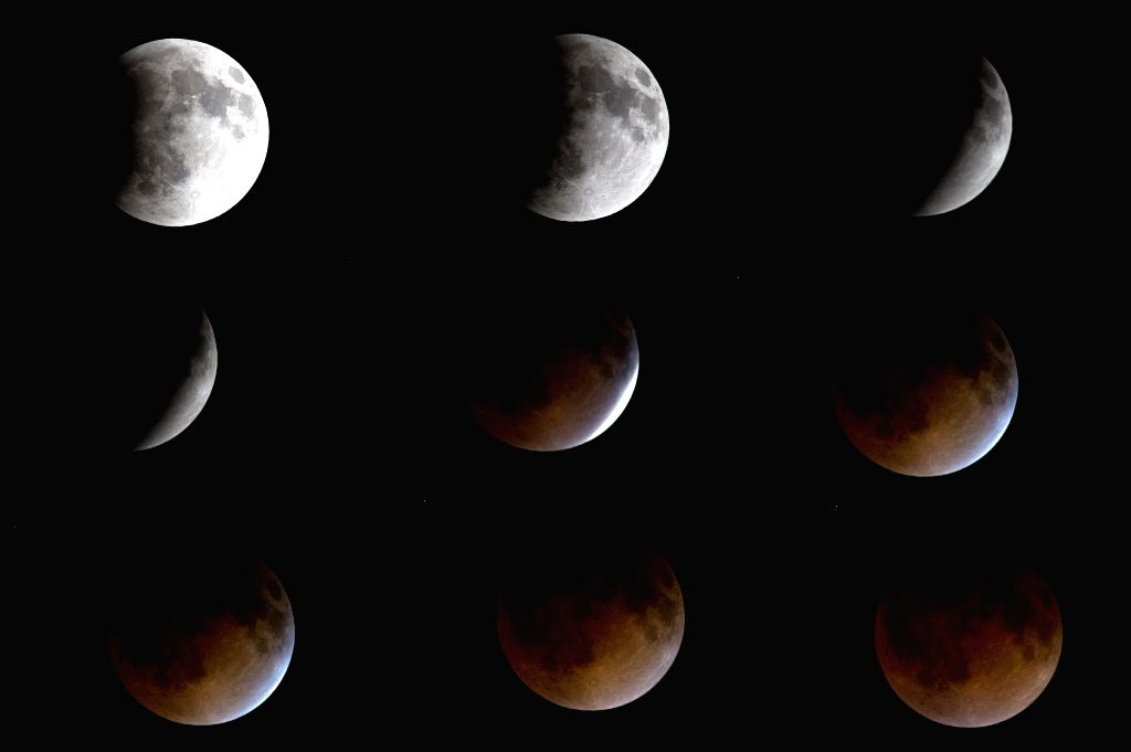 The combo image shows the moon during an eclipse, in the sky above Mexico City, capital of Mexico, early April 15, 2014. The eclipse made the Moon look ...