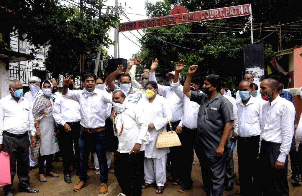 Civil Court advocates stage a demonstration against virtual court amid COVID-19 pandemic, in Patna on Aug 12, 2020.