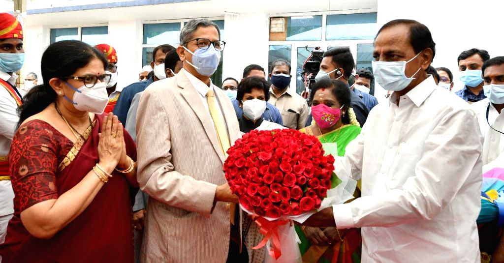 CJI arrives in Hyderabad to warm welcome on maiden visit