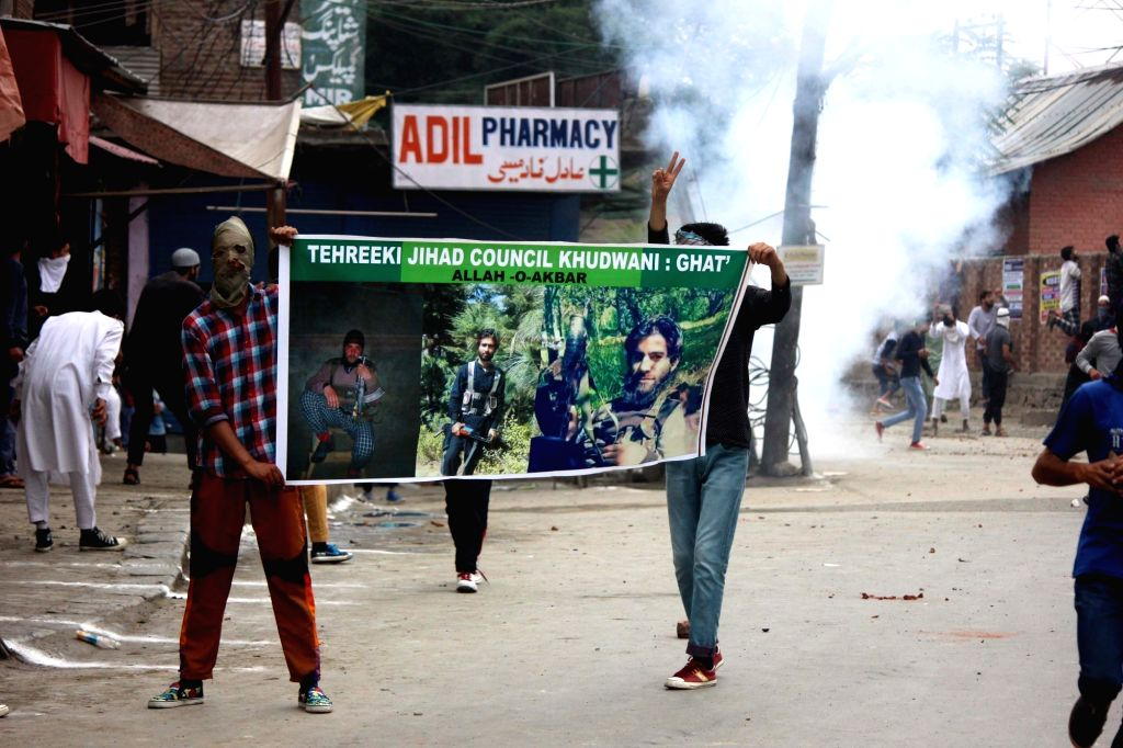 Clashes broke out between security forces and protesters after the prayers on the occasion of Eid ul Fitr in Anantnag, on June 26, 2017.