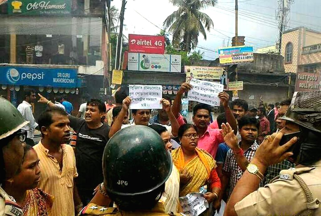 "Clashes broke out between two communities over a ""objectionable"" Facebook post about a religious site; in Baduria of West Bengal's North 24 Parganas district on July 4, 2017."