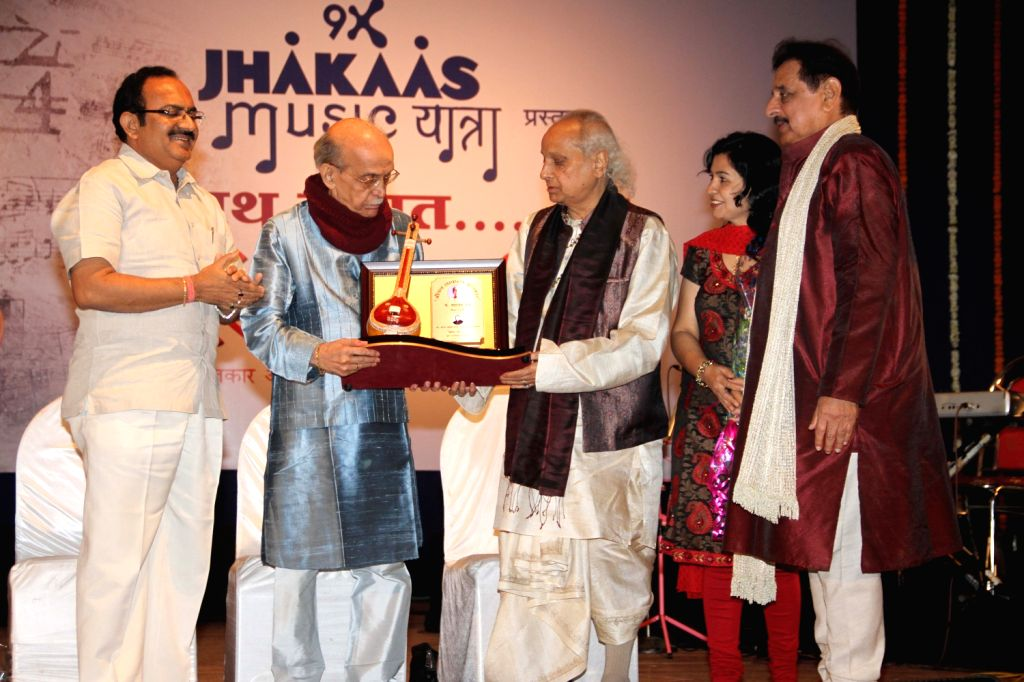 Classical singer Pandit Jasraj at a function organized by Sath Sangat and Surel Creations in association with 9X Jhakaas. Eminent names from the music industry had come together to pay a rich musical
