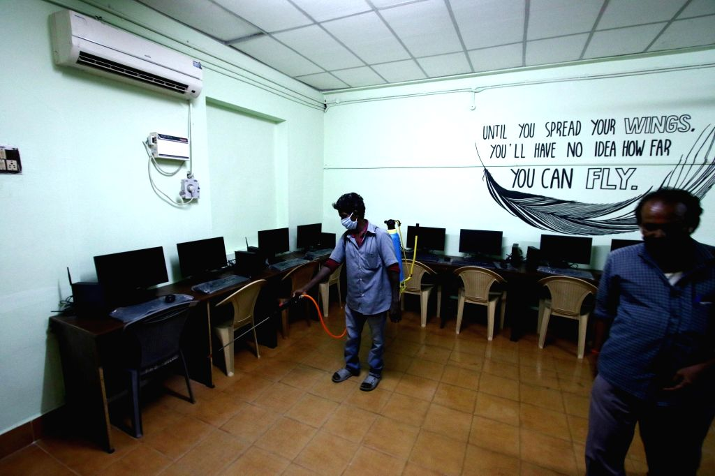 Classrooms being disinfected as schools reopen as per the instructions of the Tamil Nadu Government as part of Unlock 4.0 amid COVID-19 pandemic, in Chennai on Sep 29, 2020.