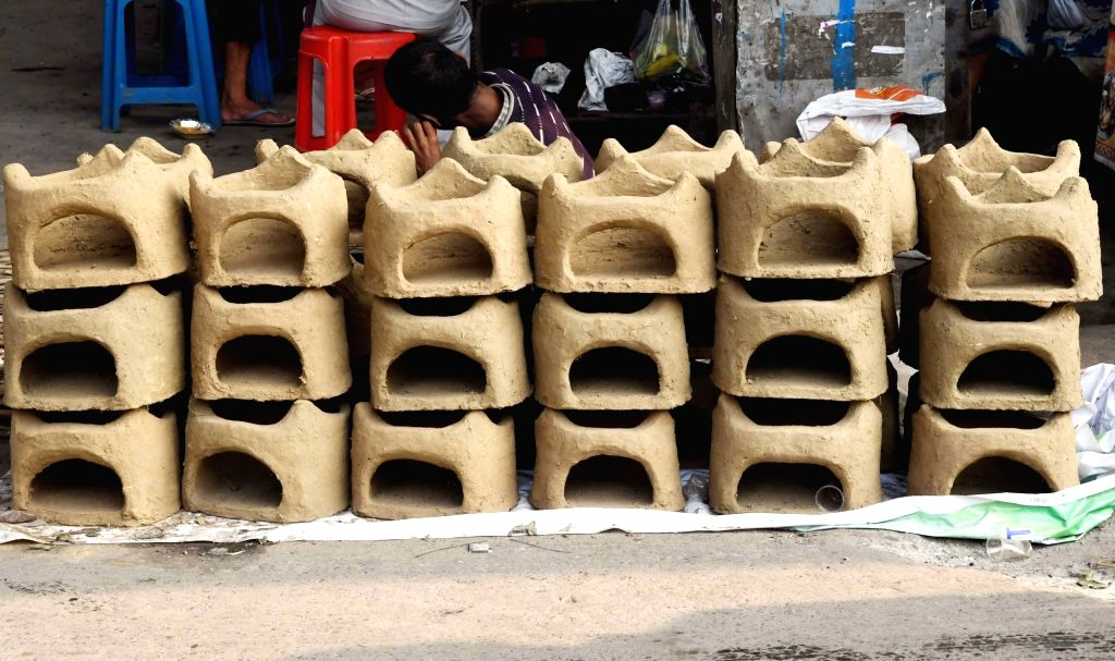 Clay stoves on sale ahead of Chhath Puja in Patna, on Oct 28, 2019.