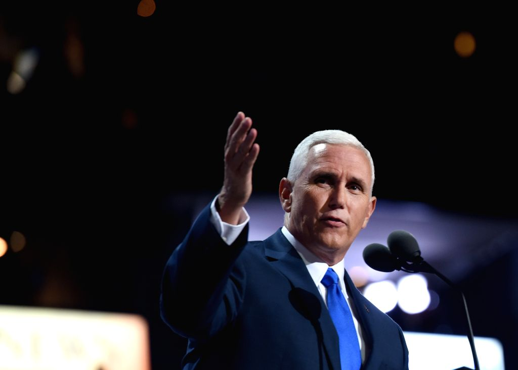 CLEVELAND, July 21, 2016 - Indiana Governor and Republican vice presidential nominee Mike Pence speaks at the Republican National Convention in Cleveland, Ohio, the United States, July 20, 2016. ...