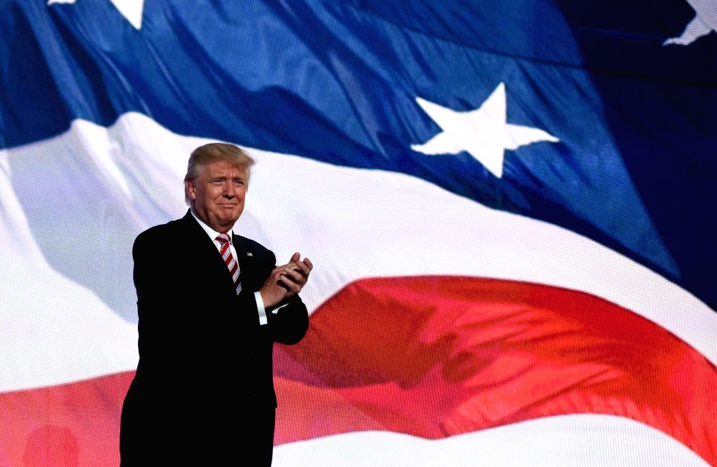 CLEVELAND, July 21, 2016 - Republican presidential nominee Donald Trump takes the stage on the third day of the Republican National Convention in Cleveland, Ohio, the United States, July 20, 2016.