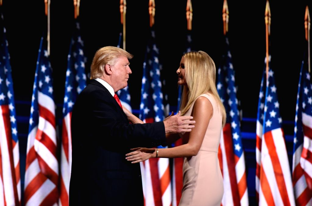 CLEVELAND, July 22, 2016 - Donald Trump along with his daughter Ivanka Trump on the stage on the last day of the Republican National Convention in Cleveland, Ohio, the United States, July 21, 2016. ...