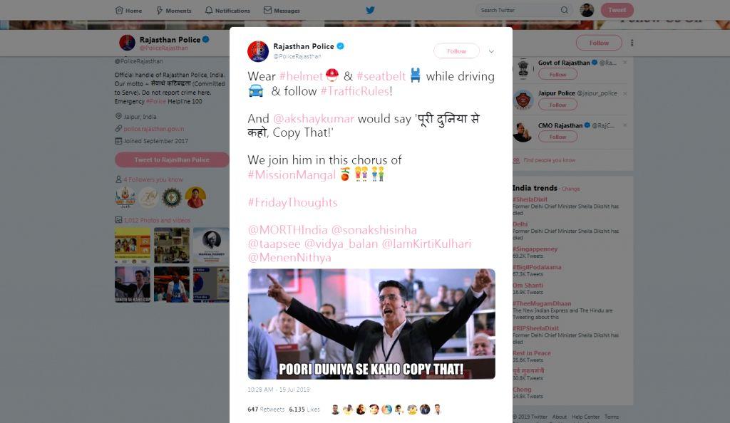 Close on the heels of the Mumbai police using the newly launched trailer of Akshay Kumar-starrer 'Mission Mangal' to create interesting memes discouraging drunken driving and spread road safety ... - Akshay Kumar