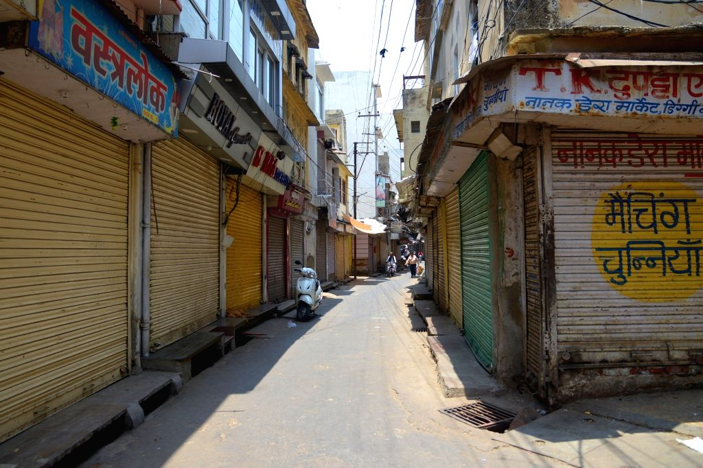 Cloth merchants observe a three-day bandh by closing their shops in protest against the implementation of GST in Ajmer on June 27, 2017.