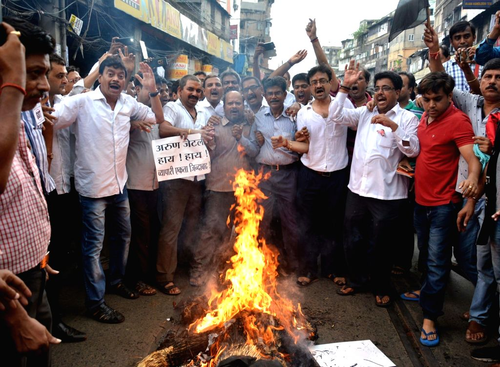 Cloth merchants stage a demonstration against GST in Burrabazar of Kolkata on June 29, 2017.