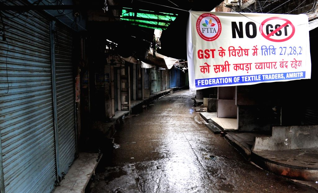 Cloth shops remain closed to protest against GST in Amritsar, on June 29, 2017.