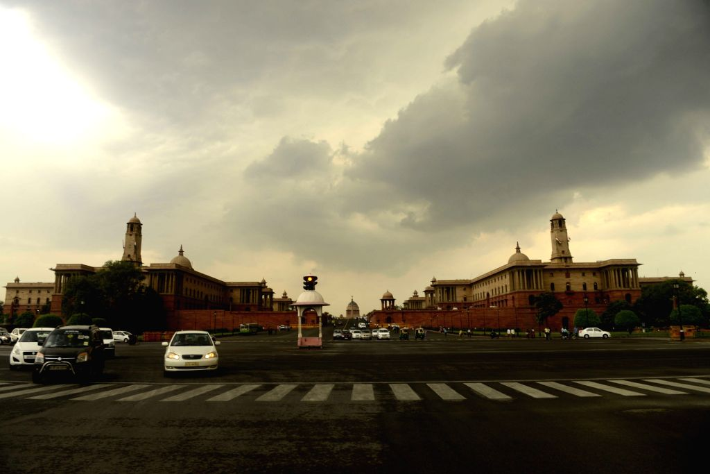 Clouds loom over Raisina Hills in New Delhi, on May 23, 2016.