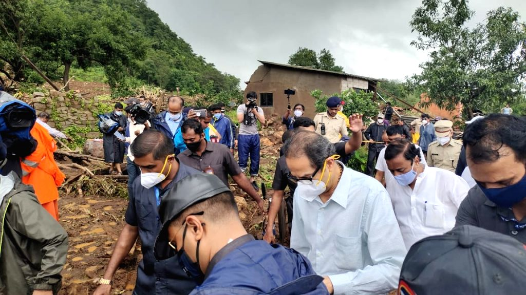 CM Uddhav Thackeray, Ministers Eknath Shinde, Vijay Wadettiwar, Aditi Tatkare, local MP Sunil Tatkare, top officials, etc visit the Taliye village flattened by a hillslide killing nearly 50 and many more missing after heavy rains and floods. - Eknath Shinde, Vijay Wadettiwar and Aditi Tatkare