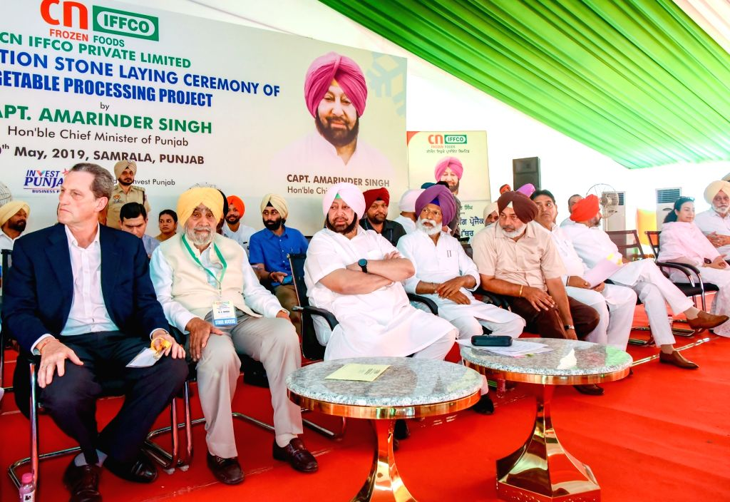 CN IFFCO Chairman Benito Jimenez, IFFCO Chairman B. S. Nakai and Punjab Chief Minister Captain Amarinder Singh at the foundation stone laying ceremony of a vegetable processing project in ... - Captain Amarinder Singh