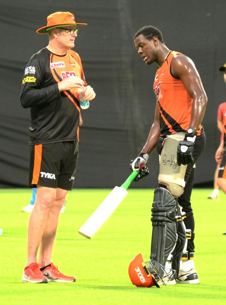 Coach Tom Moody and Carlos Brathwaite of Sunrisers Hyderabad (SRH) Tom Moody and mentor VVS Laxman during a practice session, at the Eden Gardens in Kolkata on May 24, 2018.