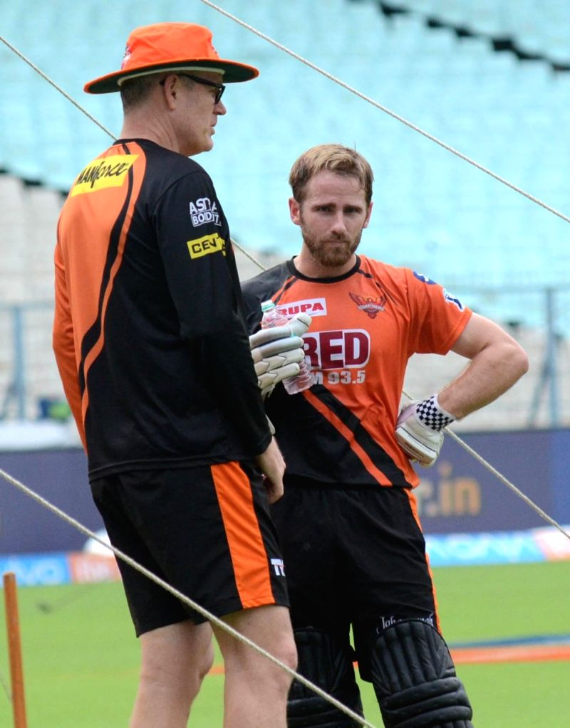 Coach Tom Moody and Kane Williamson of Sunrisers Hyderabad (SRH) Tom Moody and mentor VVS Laxman during a practice session, at the Eden Gardens in Kolkata on May 24, 2018.