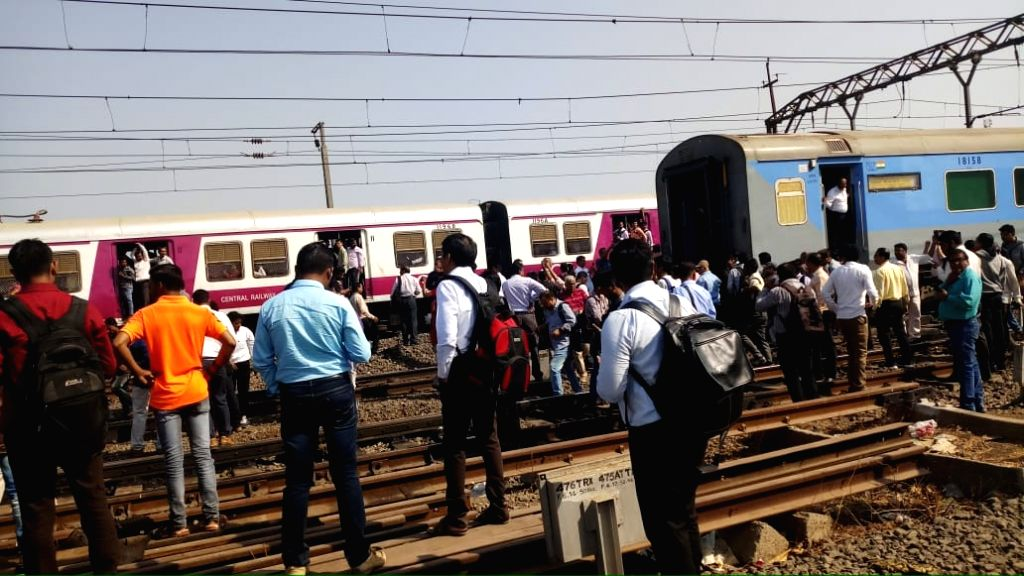 Coaches of Manmad-Mumbai Panchavati Express after its engine got uncoupled and started moving ahead, leaving the rest of the train behind, near Kalyan station in Maharashtra's Thane, on March ...