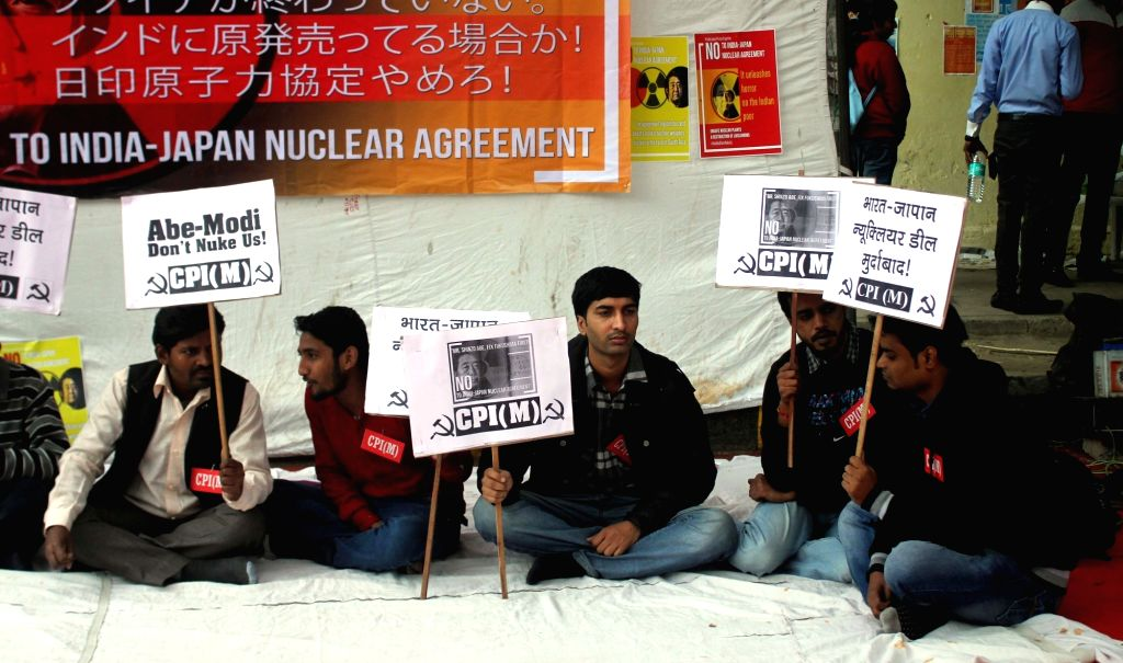 Coalition for Nuclear Disarmament and Peace (CNDP) activists stage a demonstration at Jantar Mantar in New Delhi on Dec 12, 2015.