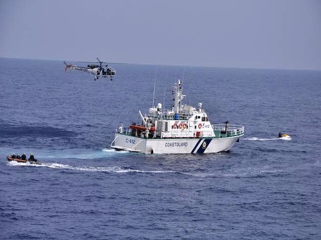 Coast Guards display their skills during 'A Day at Sea' off Chennai coast in Bay of Bengal on Jan 17, 2016.