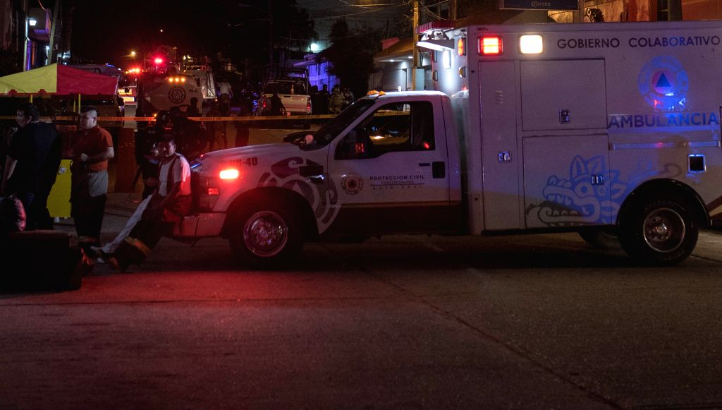 COATZACOALCOS, Aug. 28, 2019 - An ambulance parks near a nightclub in Coatzacoalcos, Mexico, Aug. 27, 2019. A total of 23 people were killed and some 10 others seriously injured when a nightclub in ...