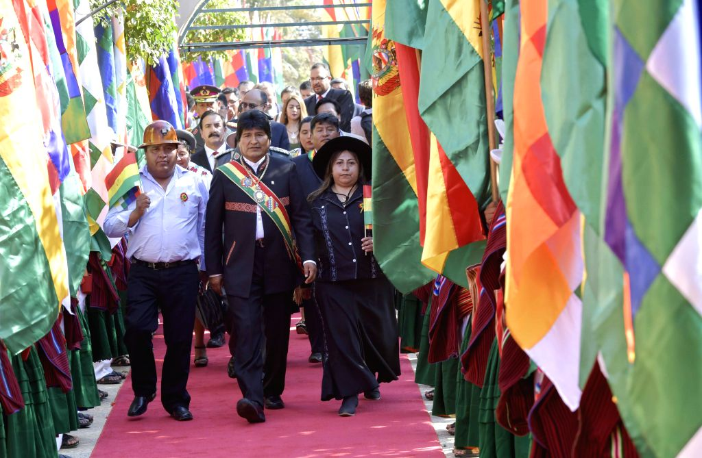 COBIJA, Aug. 7, 2017 - Bolivia's President Evo Morales (C) attends the celebrations of the 192nd anniversary of Bolivia's independence, in Cobija, Bolivia, on Aug. 6, 2017.