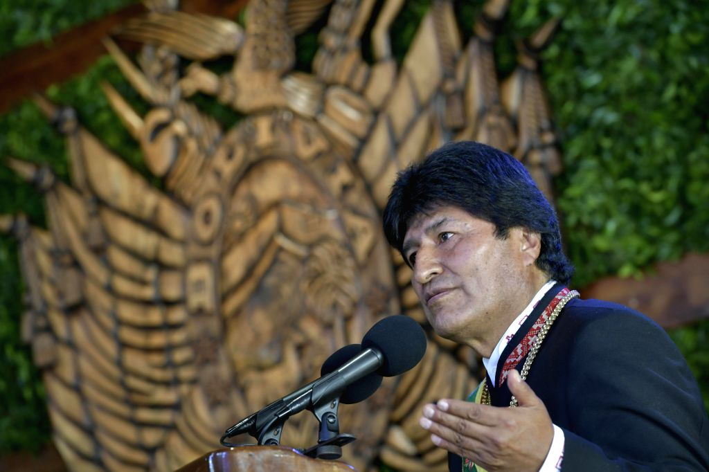 COBIJA, Aug. 7, 2017 - Bolivia's President Evo Morales delivers a speech during the celebrations of the 192nd anniversary of Bolivia's Independence, in Cobija, Bolivia, on Aug. 6, 2017.