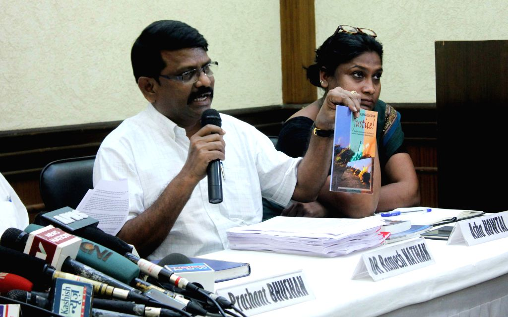 Cobra Post officials during a press conference regarding exhibit a documentary on `Operation Black Rain` - a documentary in New Delhi on Aug 17, 2015.