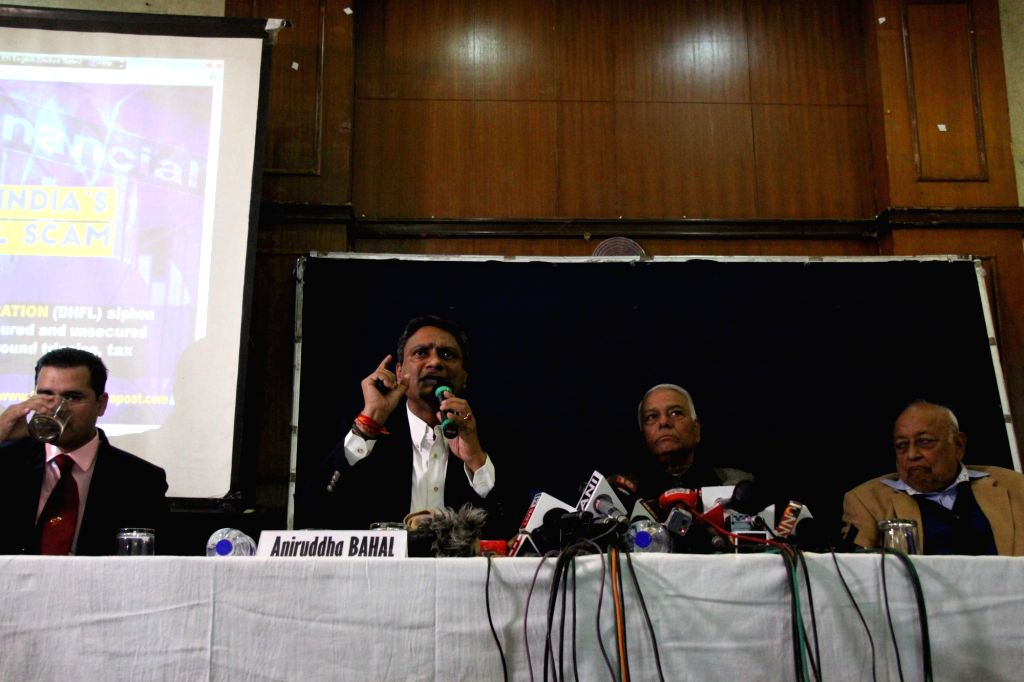 Cobrapost Founder Aniruddha Bahal addresses a press conference in New Delhi, on Jan 29, 2019. Also seen Former Union Minister Yashwant Sinha. - Yashwant Sinha