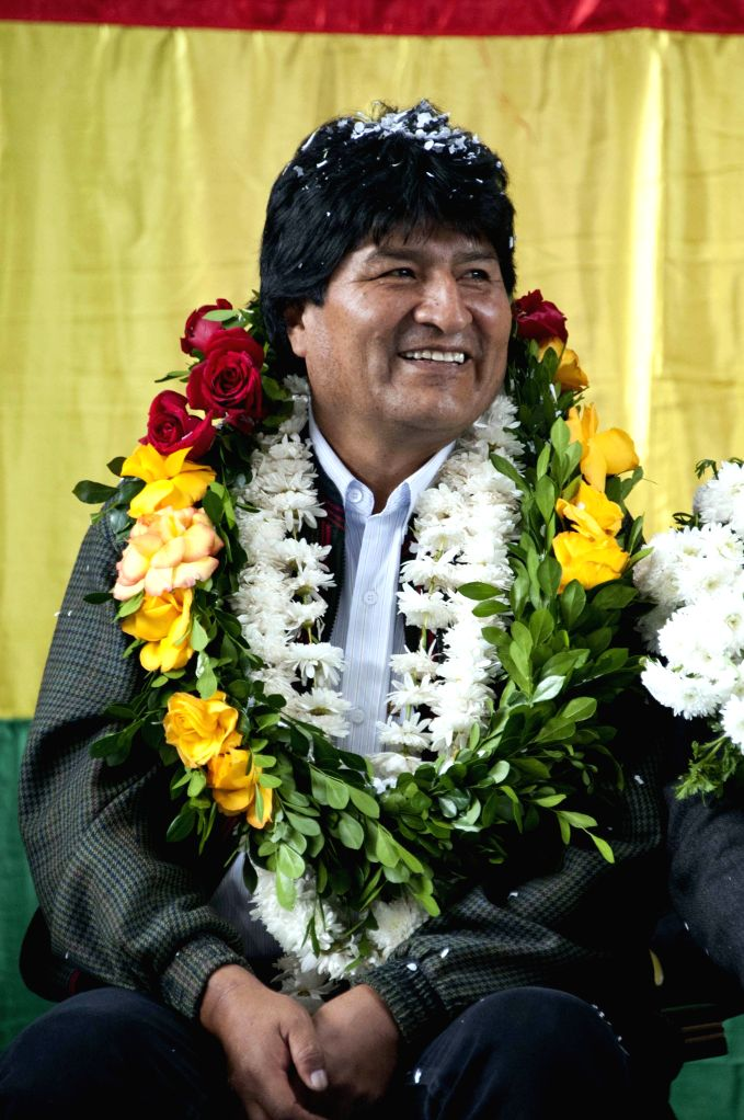 """Bolivian President Evo Morales attends a delivery ceremony of a sports coliseum, as part of the program """"Bolivia Changes, Evo Fulfills"""", in the ..."""